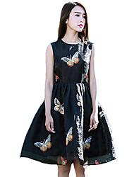 Women's Simple Print Skater Dress,Round Neck Knee-length Polyester