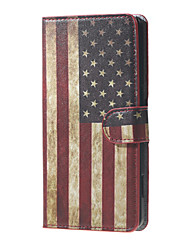 For Nokia Case Card Holder / with Stand / Flip / Pattern Case Full Body Case Flag Hard PU Leather Nokia Lumia 650