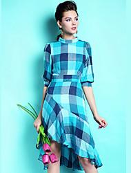 Women's Fashion Checked  Printing  Irregular Stand Collar High Waist Dresses