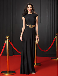 TS Couture Prom Formal Evening Dress - Celebrity Style Trumpet / Mermaid Jewel Floor-length Jersey with Appliques Beading