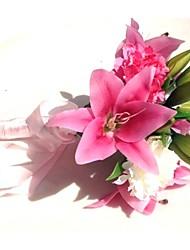 """Bouquets de Noiva Redondo Forma-Livre Lírios Peônias Buquês Casamento Festa / noite Poliéster Cetim 8.66""""(Aprox.22cm)"""