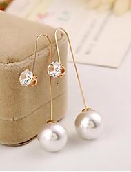 Earring Drop Earrings Jewelry Women Imitation Pearl / Cubic Zirconia / Gold Plated 2pcs Gold