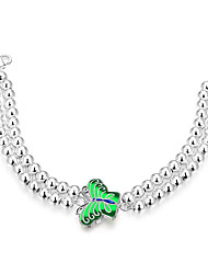 Lureme® Elegant Style Silver Plated Butterfly Double Beads Chain Bracelets for Women(Green)