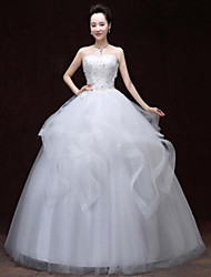 A-line Wedding Dress Floor-length Strapless Lace / Satin with Lace / Pattern