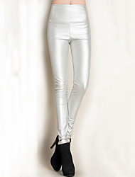 Women High Waist Bodycon Thin Skinny PU Pants , Fleece Lining
