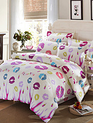 Special Counter Lips Bedding Set I Love You Printing Home Textiles drap de lit Wedding Gifts Bedclothes 4Pcs Queen Size