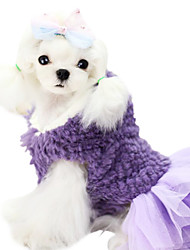 Dog Dress Red / Purple Winter Solid Fashion