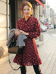 Women's Vintage Bowknot Long Sleeve Slim Waist Dresses
