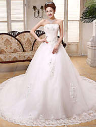 Ball Gown Wedding Dress Chapel Train Strapless Lace / Satin / Tulle with Crystal / Sequin