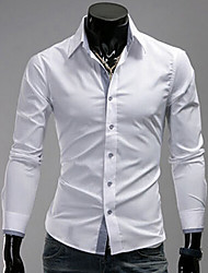 Shirts Tuxedo (Wing Collar) Long Sleeve Cotton Solid Black / Dark Blue / Light Blue / White / Dark Red
