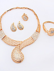 Women's New Fashion Luxury Hollow Droplets Shiny Rhinestone Pearl Necklace Bracelet Earrings Ring Set Bridal Set