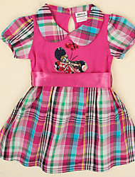 Girl's Dress Summer Plaid Skirt Floral Dress Butterfly Embroidery Children Dresses(Random Printed)