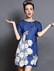 Europe Women Fashion Vintage Elegant Embroidery Loose Patchwork 1/2 Sleeve Denim Dress