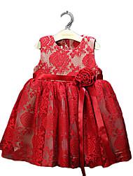 Girl's Red Dress / Clothing Set,Jacquard Cotton Summer / Fall / Spring