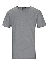 Lesmart Hombre Escote Redondo Manga Corta Camiseta Negro / Blanco / Gris-TKS1607