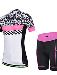 CHEJI Women's Breathable Short Sleeve Cycling Jersey 3D Pad and Shorts