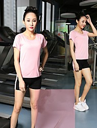 Women Sexy Fashion Sports Casual Running Suit Yoga Sets Gym Suits (Suits = Short Sleeve Top + Short Pants)