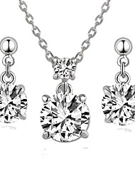 HKTC Classic Love Angle Cz Diamond Earrings and Necklace Set 18k White Gold Plated Fashion Vintage Jewelry