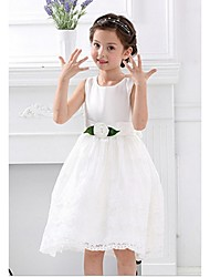 Ball Gown Knee-length Flower Girl Dress - Satin Sleeveless