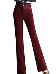 Women's Solid Red / Black / Brown / Gray Loose Pants , Vintage
