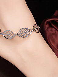 2Pcs  Hollow Leaves Chain Barefoot Sandals Bridemaids Wedding Jewelry Sandal Anklet  (Silver plated)
