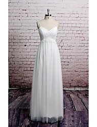 Sheath / Column Wedding Dress Floor-length V-neck Organza / Satin with Lace