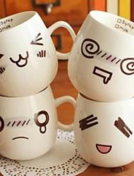 300ml lustiges Gesicht Stimmung Becher weiße Keramik Keramik Tee-Kaffee-Milch Tasse Weihnachtsgeschenke (Random-Stil)