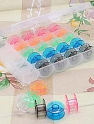 25Pcs Empty Bobbins Sewing Machine Spools Colorful Plastic Case Storage Box