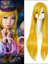 Popular! Long Straight Yellow Color Cosplay Style Synthetic Wigs Top Quality