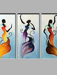 Oil Painting Modern Abstract Pure Hand Draw Ready To Hang Decorative The Woman Of The Dancing Set Of 3 Pieces