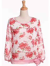 Women's Floral  Long Sleeve Chiffon Blouse