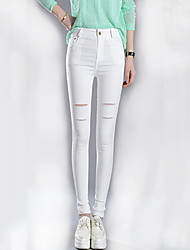 Women's Solid White / Black Bodycon Stretchy Long Skinny Pants , Casual / Day / Simple