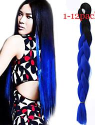 1-12packs colore # 1b / bule intrecciare i capelli a temperatura elevata intrecciare i capelli 100g / pcs estensioni dei capelli