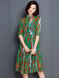 Women's Vintage / Simple Print Chiffon Dress,Stand Knee-length Silk