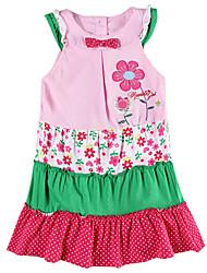 Children's Dress Sleeveless Pink Dress Flower Embroidery Dress with Bow Girls Dresses(Random Printed)