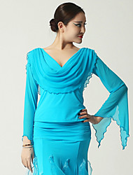 High-quality Viscose with Draped Ballroom Dance Tops for Women's Performance (More Colors)