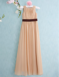 Floor-length Chiffon Junior Bridesmaid Dress-Champagne Sheath/Column Scoop