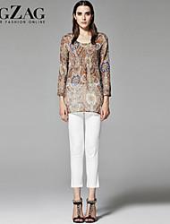 ZigZag® Dames Ronde hals Lange mouw Shirt & Blouse Beige - 11250