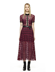 Women's Vintage Solid A Line Dress , Shirt Collar Midi Polyester