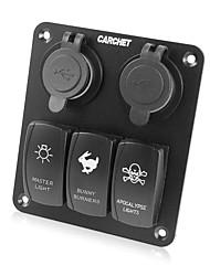 wasserdichte 3-fach LED-Kippschalter& 4 USB-Buchsen-Panel für marine / Boot / rv 12v