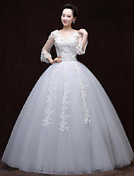 A-line Wedding Dress Floor-length V-neck Lace / Satin with Appliques / Beading / Lace