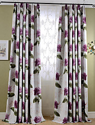 Two Panels Country Leaf Bedroom Polyester Blackout Curtains Drapes