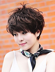 New Short Curly High Quality Brown Straight Synthetic Hair Wig