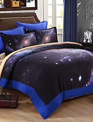 ropa de cama de 3D Galaxy establece edredón estampado floral codiciar ajustado