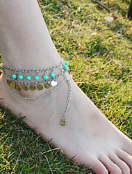2Pcs Bridemaids Wedding Jewelry  Beach Barefoot Sandal Foot Turquoise Jewelry Anklet Chain Tassel