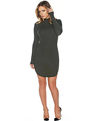 Women's Fashion Long Sleeve O Neck Long T Shirt Mini Dress