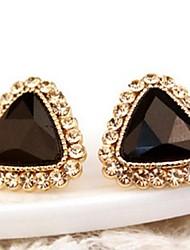 Stud Earrings Drop Earrings Cubic Zirconia Platinum Plated Alloy Fashion Black Green Blue Jewelry 1set