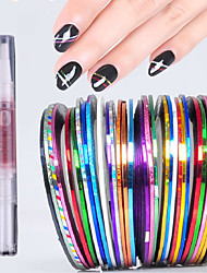 30colours*20M Gold and Silver Gold Smile Line Lasers With Back Glue Nail Stick+1 Cuticle Revitalizer Oil