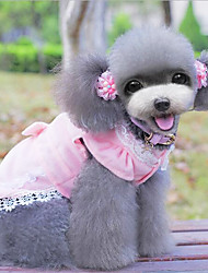 Dog Dress Blue / Pink Dog Clothes Spring/Fall Solid Fashion