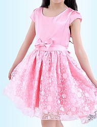 Robe Fille de Eté / Printemps Polyester Rose / Blanc
